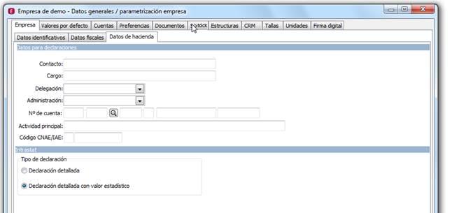 Parametrización de la Empresa: Empresa / Datos hacienda