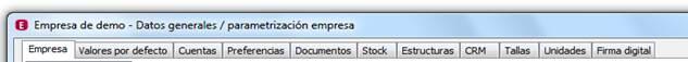 Parametrización de la empresa