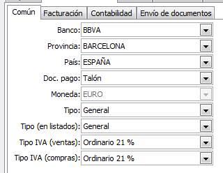 Datos generales / parametrización empresa / Valores por defecto / Común