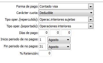 Datos generales / parametrización empresa / Valores por defecto / Común 2