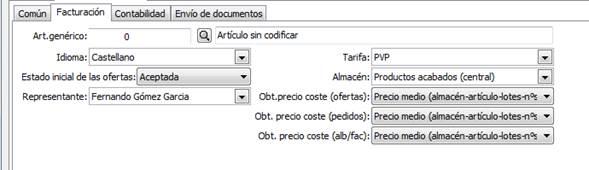 Datos generales / parametrización empresa / Valores por defecto / Facturación