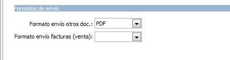 Datos generales / parametrización empresa / Valores por defecto / Formatos de envío