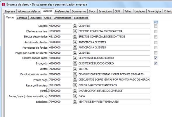 Datos generales / Parametrización empresa / Cuentas / Ventas