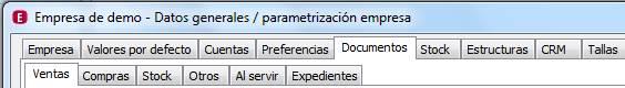Datos generales / Parametrización empresa / Documentos