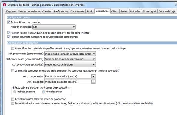 Parametrización de la Empresa / Estructuras