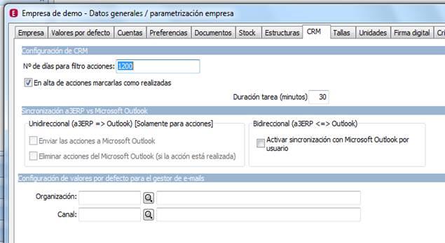 Parametrización de la Empresa / CRM
