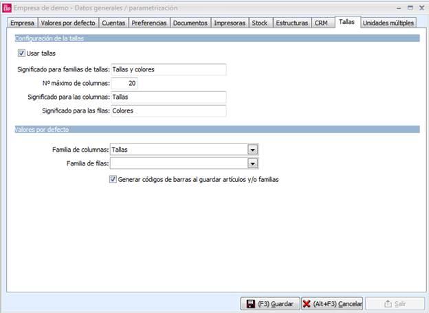 Parametrización de la Empresa / Tallas