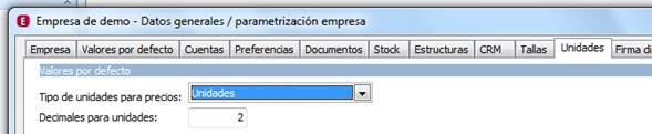Parametrización de la Empresa / Unidades