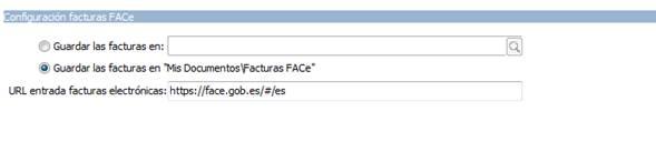 Configuración facturas FACE