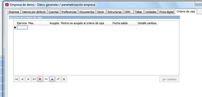 Parametrización de la Empresa / Criterio de Caja