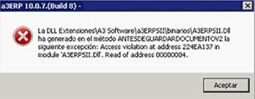 La DLL Extensiones\A3 Software\A3ERPSII\binarios\A3ERPSII.DLL ha generado en el método ANTESDEGUARDARDOCUMENTOV2 la siguiente excepción