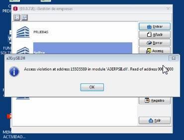 Access violation at address xxxx in module 'A3ERPSII.DLL'