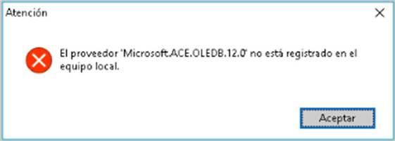 El proveedor Microsoft.ACE.OLEDB.12.0 no está registrado en el equipo local