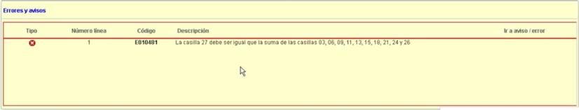 Error de validación E010481 - La casilla 27 debe ser igual que la suma de las casillas 03, 06, 11, 13, 15, 18, 21, 24 y 26