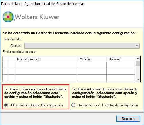 Datos de configuracion actual del Gestor de Licencias
