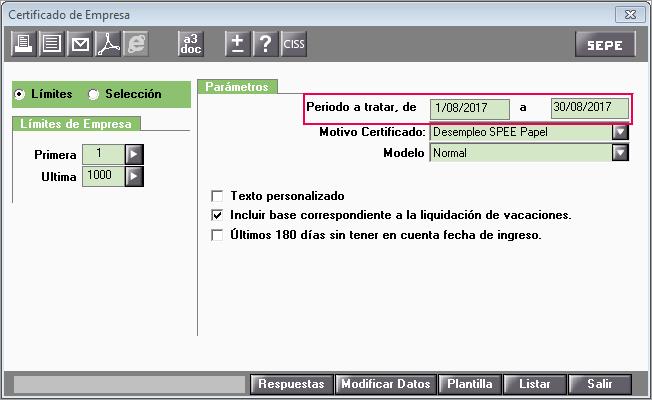 filtrar certificados SPEE fecha