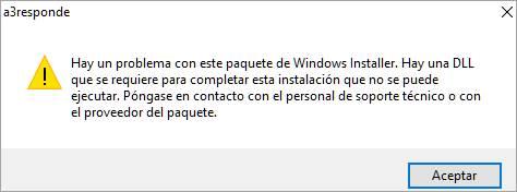 error instalacion a3responde