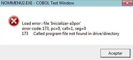 Error NOMMENU2:EXE - COBOL Text Window