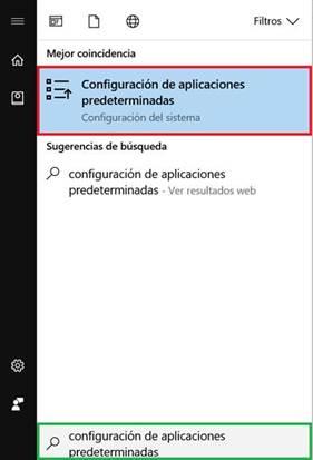 configuracion aplicaciones predeterminadas