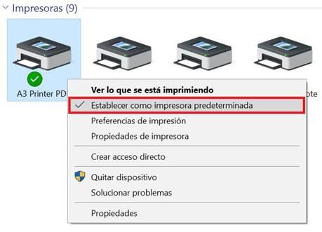 establecer impresora predeterminada