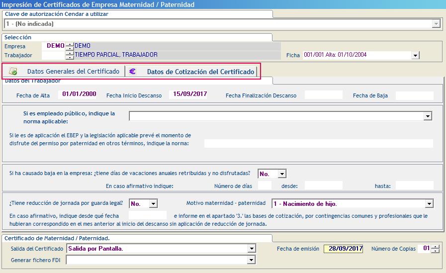 Datos Generales del Certificado y Datos de Cotizacion