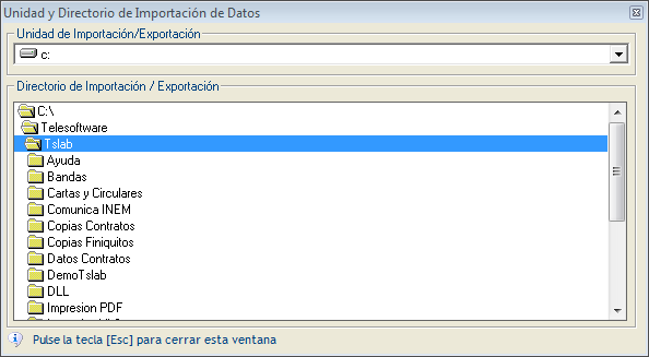 unidad y directorio importacion datos