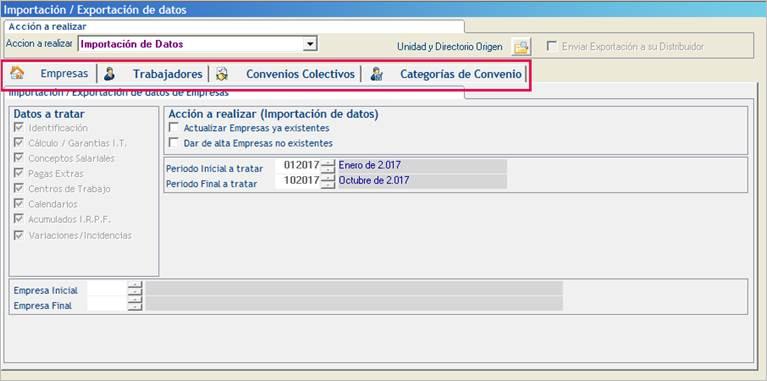 importacion exportacion de datos