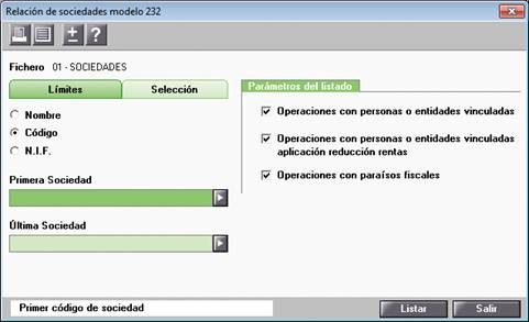 Relación de sociedades modelo 232