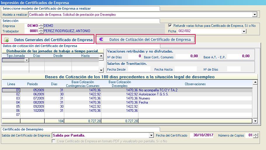 Datos Generales del Certificado de Empresa