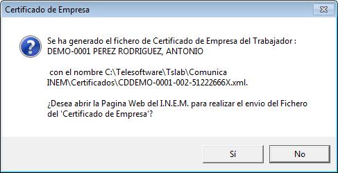 Salida Fichero XML (Envio Telematico Certific@2
