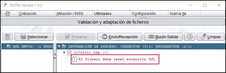 El fichero debe tener extension XML