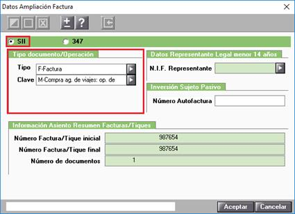 Datos Ampliación Factura.SII