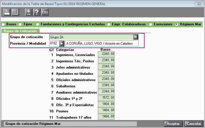 modificacion tabla bases y tipos