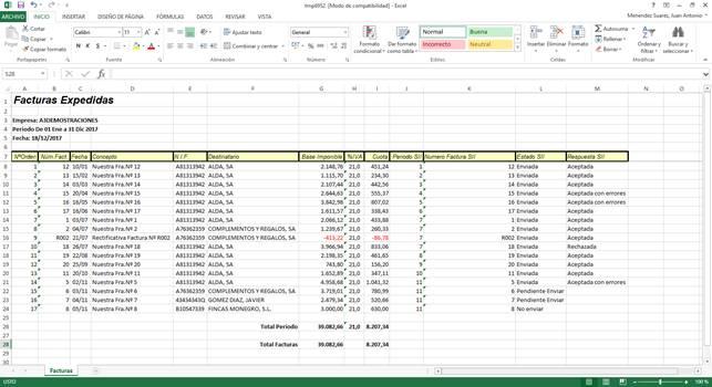 Libro de Registros de Facturas con Datos SII en Excel