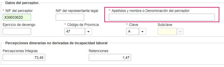 17230 perceptor no identificado Registro nº X