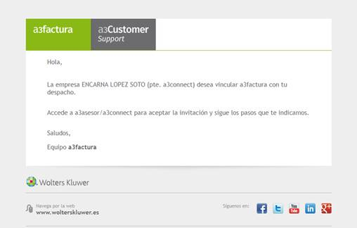 Email que la empresa de a3factura desea vincularse con el despacho del asesor
