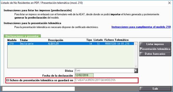Listado de no Residentes en PDF / Presentación telemática (mod. 210)