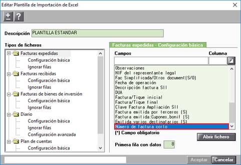 Editar Plantilla de la Importación de Excel