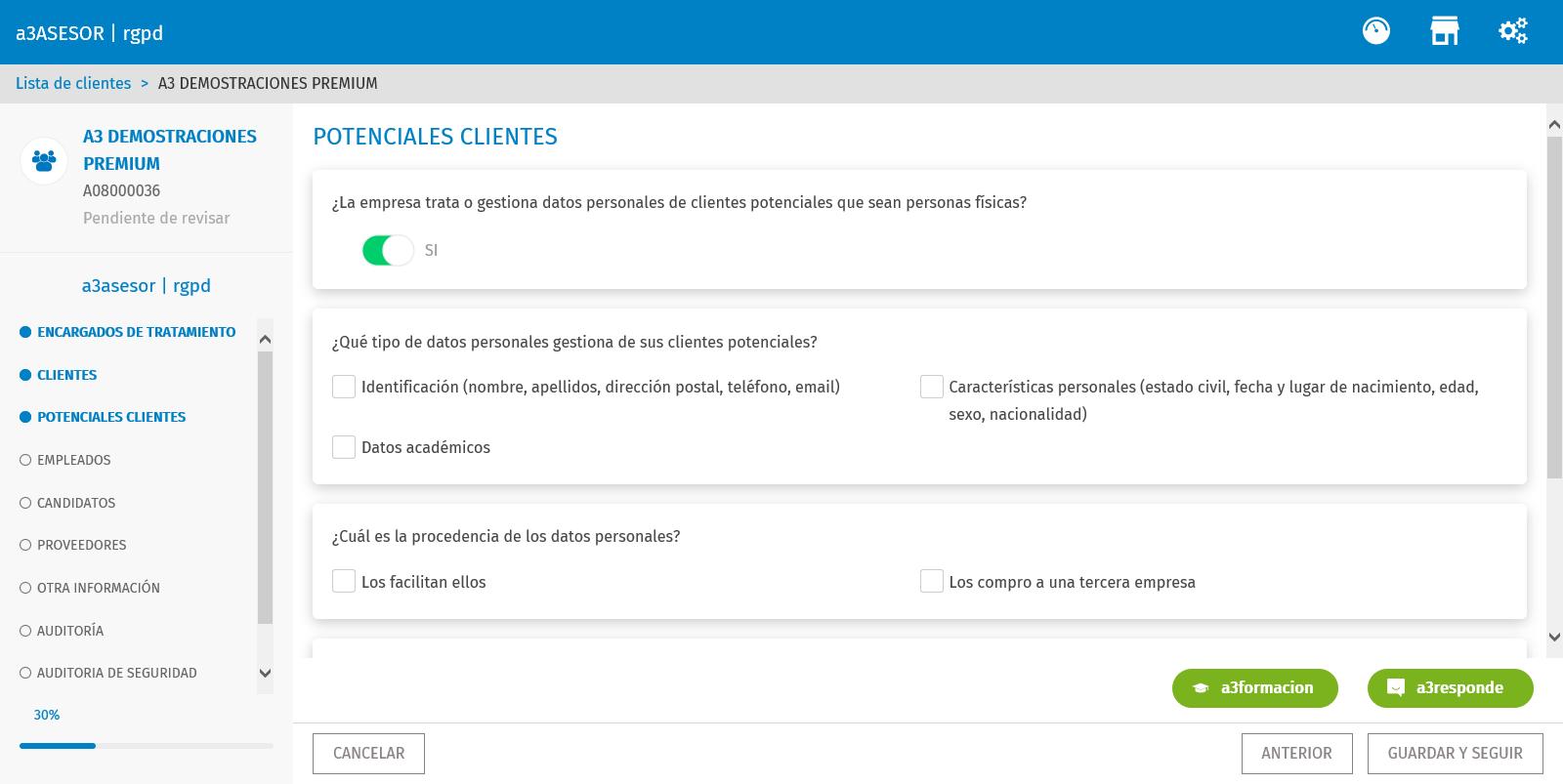 clientes potenciales informar datos