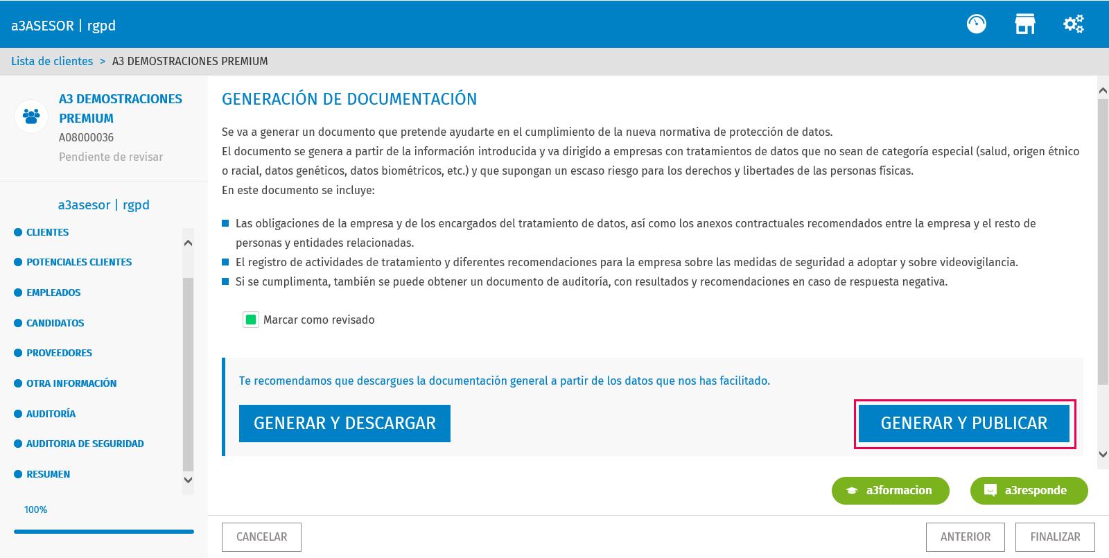 resumen, generar y publicar