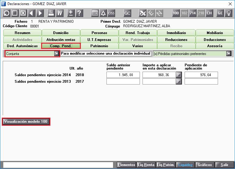 COMPENSACIONES PENDIENTES Visulizacion modelo 100