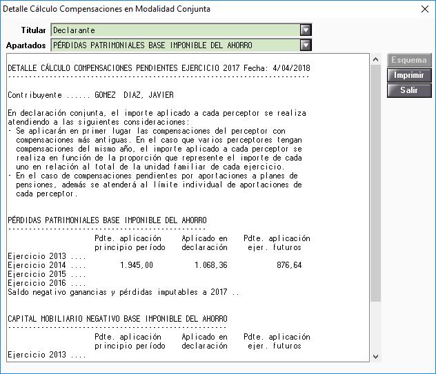 Detalle Cálculo Compensaciones en Modalidad Conjunta