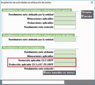 Ampliación de actividades en atribución de rentas. Rendimientos del capital inmobiliario