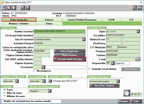 Datos Generales en Datos Cuentas Anuales
