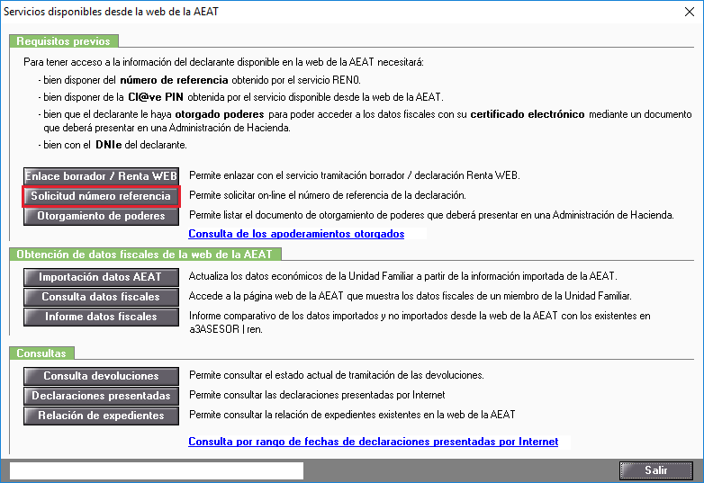 Servicios disponibles desde la web de la AEAT - Solicitud número referencia