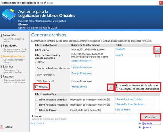 Paso 3. Generar archivos en el Asistente para la Legalización de Libros Oficiales