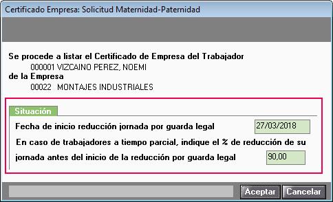 Certificado Maternidad Paternidad reduccion jornada guarda legal