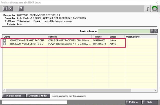 publicar clientes a3asesor rgpd