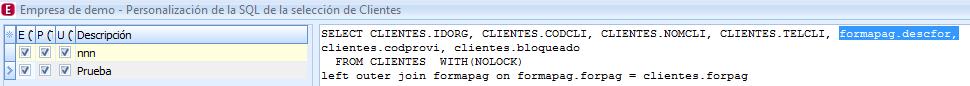 vista SQL descfor