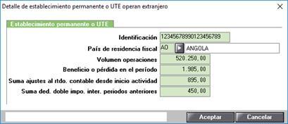 Detalle de establecimiento permanente o UTE operan extranjero